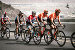 Greg Van Avermaet (BEL) CCC Team, race leader Alexey Lutsenko (KAZ) Astana Pro Team and Oliver Naesen (BEL) AG2R La Mondiale climb during Stage 4 of 10th Tour of Oman 2019, running 131km from Yiti (Al Sifah) to Oman Convention and Exhibition Centre, Oman. 19th February 2019.<br /> Picture: ASO/P. Ballet | Cyclefile<br /> All photos usage must carry mandatory copyright credit (&copy; Cyclefile | ASO/P. Ballet)