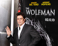 US actor/cast member Benicio Del Toro arrives at the US/LA premiere of 'The Wolfman' in Los Angeles, California 09 February 2010. Upon his return to his ancestral homeland, an American man (Del Toro) is bitten, and subsequently cursed by, a werewolf. .Photo by Nina Prommer/Milestone Photo