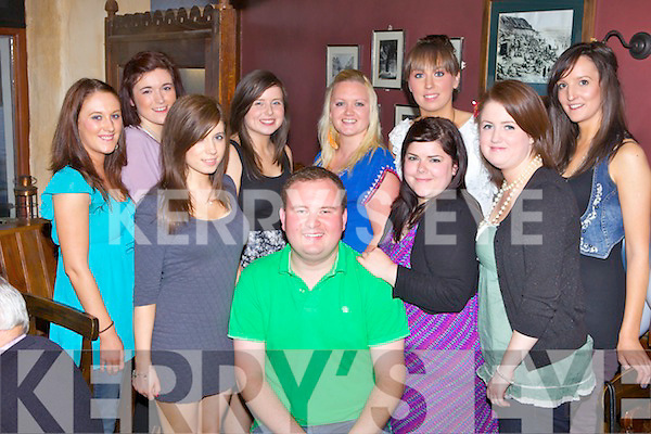 Michael Galvin from Ballybunion who is Australia bound, pictured here enjoying his going away party with friends last Friday night in McMunn's Restaurant, Ballybunion, pictured l-r: Ciara Kennelly, Siobhan Mason, Danielle O'Sullivan, Josephine Mulvihill, Michael Galvin, Alice O'Riordan, Michelle O'Sullivan, Claire Larkin, Katie Galvin and Eileen Scanlon.
