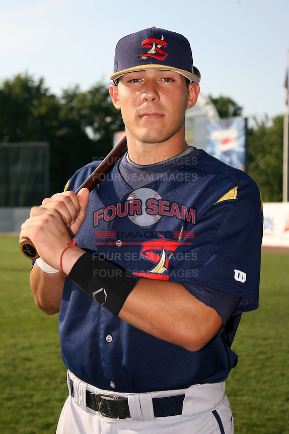 June 24, 2009:  Catcher Tony Sanchez of the State College Spikes poses for a photo before a game at Eastwood Field in Niles, OH.  The State College Spikes are the NY-Penn League Short Season-A affiliate of the Pittsburgh Pirates.  Photo by:  Mike Janes/Four Seam Images