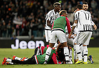 Calcio, Serie A: Juventus vs Milan. Torino, Juventus Stadium, 21 novembre 2015. <br /> Juventus&rsquo; Paulo Dybala, bottom, celebrates with teammates after scoring the winning goal during the Italian Serie A football match between Juventus and AC Milan at Turin's Juventus stadium, 21 November 2015. Juventus won 1-0.<br /> UPDATE IMAGES PRESS/Isabella Bonotto