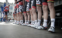 Lotto-Belisol startpodium line-up with Dennis Vanendert (BEL) a bit late (as usual)<br /> <br /> Nokere Koerse 2014