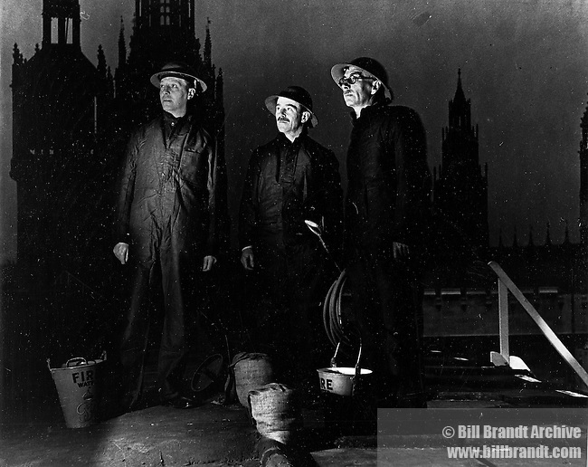 Fire wardens on top of Westminster WW2