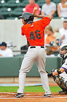 Second baseman Jonathan Schoop #46 of the Frederick Keys at bat against the Winston-Salem Dash at BB&T Ballpark on August 5, 2011 in Winston-Salem, North Carolina.  The Dash defeated the Keys 10-0.   Brian Westerholt / Four Seam Images