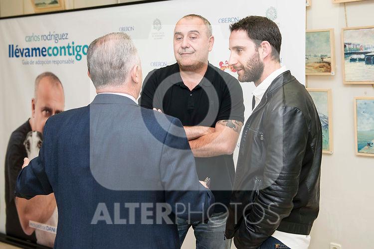 "Felipe Villas, Carlos Rodriguez and Dani Rovira during the presentation of the book ""Llevame contigo"" of Carlos Rodriguez in Madrid, Spain. March 15, 2017. (ALTERPHOTOS/BorjaB.Hojas)"