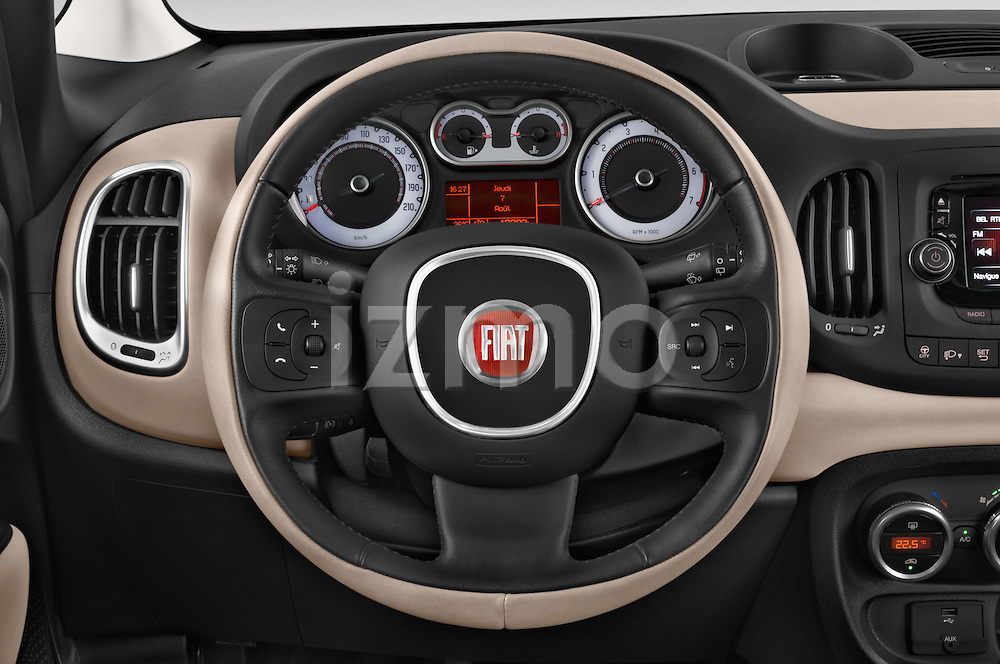 Car pictures of steering wheel view of a 2014 Fiat 500L Lounge 5 Door MPV
