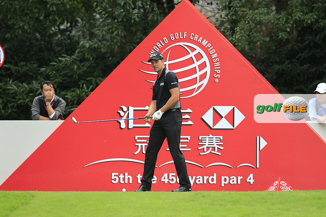 Henrik Stenson (SWE) on the 5th tee during the final round of the WGC-HSBC Champions, Sheshan International GC, Shanghai, China PR.  30/10/2016<br /> Picture: Golffile | Fran Caffrey<br /> <br /> <br /> All photo usage must carry mandatory copyright credit (&copy; Golffile | Fran Caffrey)
