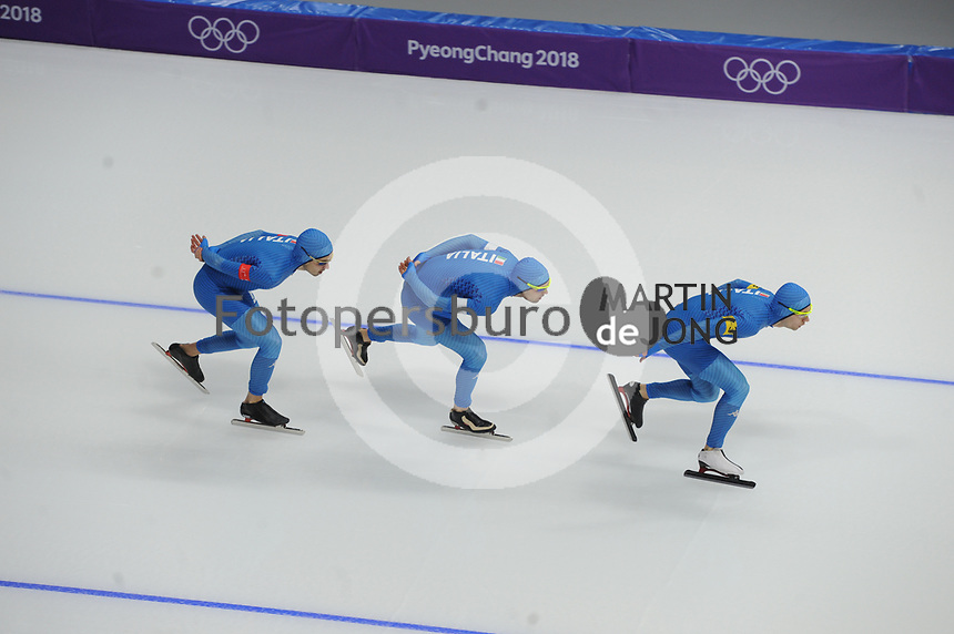 OLYMPIC GAMES: PYEONGCHANG: 18-02-2018, Gangneung Oval, Long Track, Team Pursuit Men, Team Italy, Andrea Giovannini, Riccardo Bugari, Nicola Tumolero, ©photo Martin de Jong
