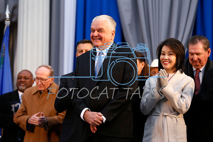 Nevada Gov. Steve Sisolak and his wife Kathy at his inauguration at the Capitol, in Carson City, Nev., on Monday, Jan. 7, 2019. <br /> Photo by Cathleen Allison/Nevada Momentum