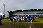 Pre match handshakes in front of the North Stand. Oldham v Portsmouth League 1