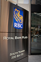 RBC logo is seen on the Royal Bank Plaza in Toronto financial district April 19, 2010. The Royal Bank of Canada (in French, Banque Royale du Canada, and commonly RBC in either language) is the largest financial institution in Canada, which is measured by deposits, revenues, and market capitalization.