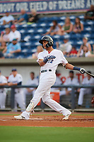 Pensacola Blue Wahoos Shrimp center fielder Jose Siri (22) hits a foul ball during a game against the Jacksonville Jumbo on August 15, 2018 at Blue Wahoos Stadium in Pensacola, Florida.  Jacksonville defeated Pensacola 9-2.  (Mike Janes/Four Seam Images)
