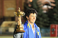 Winning European Team Player Rory McIlroy (NIR) after Sunday's Singles Matches of the 39th Ryder Cup at Medinah Country Club, Chicago, Illinois 30th September 2012 (Photo Colum Watts/www.golffile.ie)