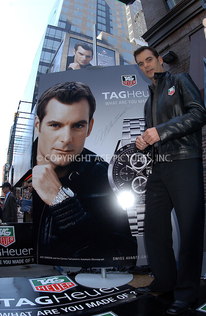 WWW.ACEPIXS.COM . . . . . ....NEW YORK, MAY 2ND, 2005....Jeff Gordon, spokesman for Tag Heuer watches, unviels billboard for Tag Heuer on Broadway.......Please byline: KRISTIN CALLAHAN - ACE PICTURES.. . . . . . ..Ace Pictures, Inc:  ..Craig Ashby (212) 243-8787..e-mail: picturedesk@acepixs.com..web: http://www.acepixs.com