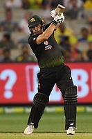 1st November 2019; Melbourne Cricket Ground, Melbourne, Victoria, Australia; International T20 Cricket, Australia versus Sri Lanka; Aaron Finch of Australia swings at the ball - Editorial Use
