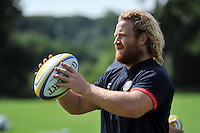 Ross Batty looks to throw into a lineout. Bath Rugby training session on August 27, 2013 at Farleigh House in Bath, England. Photo by: Patrick Khachfe/Onside Images
