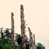 Alert Bay, Cormorant Island, BC, British Columbia, Canada - Kwakwaka'wakw (Kwakiutl) Memorial Totem Poles on Namgis Burial Grounds