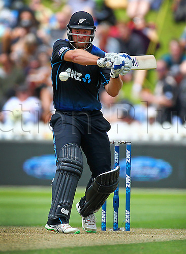 25.01.2016. Basin Reserve, Wellington, New Zealand. New Zealand versus Pakistan One Day International Cricket. Corey Anderson bats during the 1st ODI cricket match between the New Zealand Black Caps and Pakistan