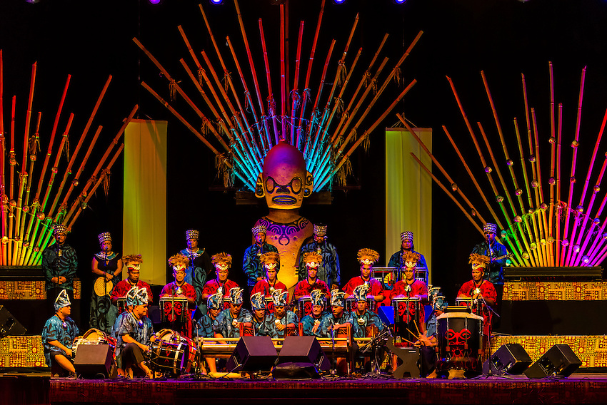 Orchestra performing during in the Winners Showcase, the final night of the Heiva i Tahiti (July cultural festival), Place Toata, Papeete, Tahiti, French Polynesia.