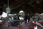 Cavern formed by lava tunnel with lake Jameos de Agua, Lanzarote, Canary Islands, Spain