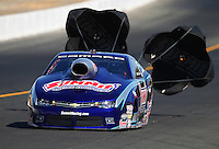 Jul. 26, 2014; Sonoma, CA, USA; NHRA pro stock driver Jason Line during qualifying for the Sonoma Nationals at Sonoma Raceway. Mandatory Credit: Mark J. Rebilas-