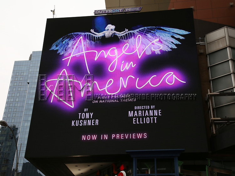 Billboard Ad for Tony Kushner's 'Angels in America: A Gay Fantasia on National Themes' starring Andrew Garfield and Nathan Lane at 42nd street, Times Square on March 20, 2018 in New York City.