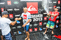 KIRRA, Queensland/Australia (Wednesday, March 13, 2013) Tom Carrroll (AUS) congratulates Slater- Kelly Slater (USA), 41, 11-time ASP World Champion and 2012 ASP World Runner-Up, has claimed the 2013 Quiksilver Pro Gold Coast in firing three-to-five foot (1 - 1.5 metre) barrels at Kirra over reigning ASP World Champion Joel Parkinson (AUS), 31, in front of a capacity crowd on the Gold Coast..The opening stop on the 2013 ASP World Championship Tour (WCT), the Quiksilver Gold Coast culminated in fine fashion today with a tube-riding shootout between two of the sport's greatest champions..Slater and Parkinson opened their 40-minute Final bout with a rapid-fire exchange of tube-riding displays, vaulting the lead back and forth before Slater nailed a 9.93 for an incredibly-deep barrel punctuated by a full-velocity forehand gaff..Today win marks Slater's 52nd elite tour victory of his career, but the iconic Floridian admits that it's a long season ahead in terms of the hunt for the 2013 ASP World Title...Parkinson looked unbeatable on the final day of the event, collecting a Perfect 10 in his morning Semifinal before posting an excellent 17.47 in his Final against Slater. However, the impressive scoreline would prove insufficient against the American's onslaught and the reigning ASP World Champion would post a Runner-Up finish in the opening event of the year..Mick Fanning (AUS), 31, two-time ASP World Champion (2007, 2009), went down in a barrel shootout this morning with Slater. Despite opening up with an impressive scoreline and an early lead, the Kirra local would ultimately fall to Slater in the dying moments of the heat - 18.60 to 19.37..Fanning collects an Equal 3rd place finish in the opening event of the season..Michel Bourez (PYF), 27, opened up this morning's action with a Semifinal bout against Parkinson. Despite being universally-celebrated as one of the most powerful surfers throughout the event, the Tahitian found himself at odds this morning after the Austr