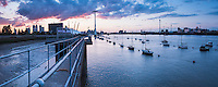 River Thames at sunset and the Emirates Air Line Cable Car, East London, England