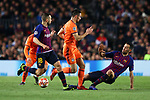 UEFA Champions League 2018/2019.<br /> Round of 16 2nd leg.<br /> FC Barcelona vs Olympique Lyonnais: 5-1.<br /> Jordi Alba, Leo Dubois & Sergio Busquets.