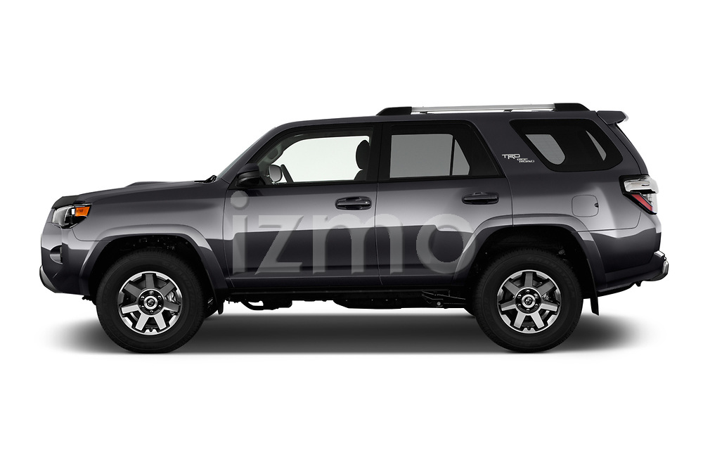 Car driver side profile view of a 2017 Toyota 4Runner Off-Road 5 Door SUV