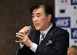 """March 15, 2017, Urayasu, Japan - Japan's travel agency H.I.S. president Hideo Sawada delivers a speech at the opening of his """"Henn na Hotel"""" (Strange hotel) near Tokyo Disney Resort in Urayasu, suburban Tokyo on Wednesday, March 15, 2017. Japan's travel agency H.I.S runs the Henn na Hotel which has only seven human employees while nine types 140 robot staffs work at the 100-room six-storey hotel.    (Photo by Yoshio Tsunoda/AFLO) LwX -ytd-"""