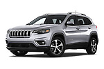 Stock pictures of low aggressive front three quarter view of a 2018 Jeep Cherokee Limited 5 Door SUV