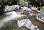 Rapids in the channel of the River Rio Poqueira gorge valley, High Alpujarras, Sierra Nevada, Granada Province, Spain