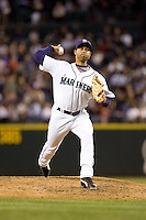 July 5, 2008: Seattle Mariners righthander Miguel Bautista throws in relief against the Detroit Tigers at Safeco Field in Seattle, Washington.