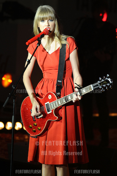 Taylor Swift performs and turns on the Christmas Lights at Westfield Shepherd's Bush, London. 06/11/2012 Picture by: Steve Vas / Featureflash