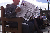The SNP addition to newstands - Scotlands Voice - is viewed in Crieff.... Pic Donald MacLeod