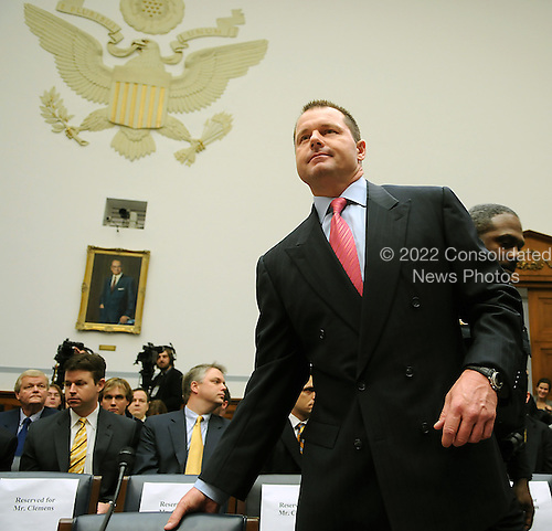 "Washington, DC - February 13, 2008 -- Roger Clemens, former New York Yankee pitcher prepares to testify before the United States House of Representatives Committee on Government Operations and Reform hearing on ""The Mitchell Report: The Illegal use of Steroids in Major League Baseball, Day 2""  concerning alleged use of steroids and human growth hormone (HGH) by Clemens and several other major league players in Washington, D.C. on Wednesday, February 13, 2008.  .Credit: Ron Sachs / CNP.(RESTRICTION: NO New York or New Jersey Newspapers or newspapers within a 75 mile radius of New York City)"