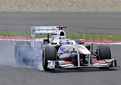 22 07 2011 The Sauber  JPN clean Formula 1 car burns rubber at practise for the Nuerburgring GP Germany