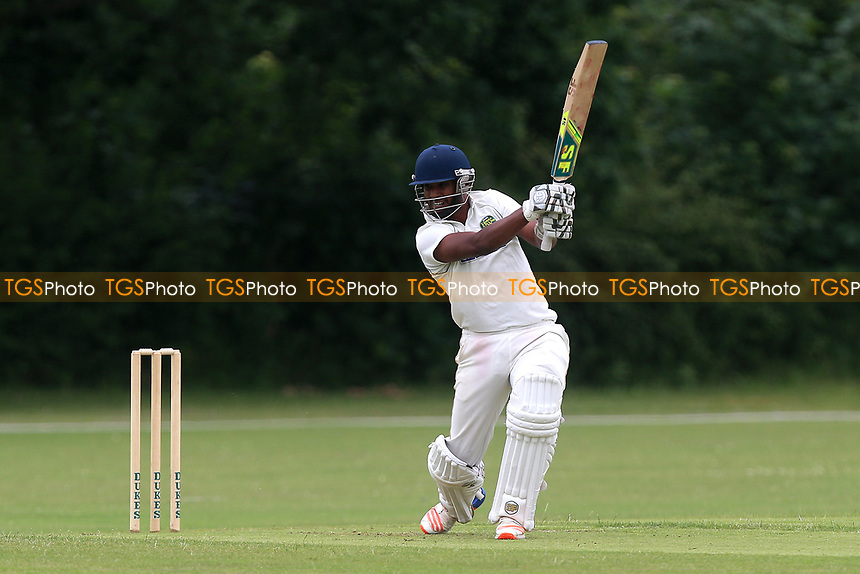 R Hussain hits four runs for Harold Wood during Gidea Park and Romford CC vs Harold Wood CC, Shepherd Neame Essex League Cricket at Gidea Park Sports Ground on 1st July 2017