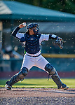 29 August 2019: Vermont Lake Monsters catcher Jorge Gordon in action against the Connecticut Tigers at Centennial Field in Burlington, Vermont. The Lake Monsters fell to the Tigers 6-2 in the first game of their NY Penn League double-header.  Mandatory Credit: Ed Wolfstein Photo *** RAW (NEF) Image File Available ***