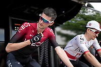 (later stage winner) Wout Poels (NED/Ineos) warming up ahead of the stage start<br /> <br /> Stage 7: Saint-Genix-les-Villages to Pipay  (133km)<br /> 71st Critérium du Dauphiné 2019 (2.UWT)<br /> <br /> ©kramon