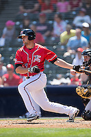 Devin Harris (15) of the Richmond Flying Squirrels \FTSW\ Bowie Baysox at The Diamond on May 24, 2015 in Richmond, Virginia.  The Flying Squirrels defeated the Baysox 5-2.  (Brian Westerholt/Four Seam Images)