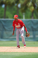 GCL Cardinals shortstop Delvin Perez (23) in the field during the second game of a doubleheader against the GCL Marlins on August 13, 2016 at Roger Dean Complex in Jupiter, Florida.  GCL Cardinals defeated GCL Marlins 2-0.  (Mike Janes/Four Seam Images)