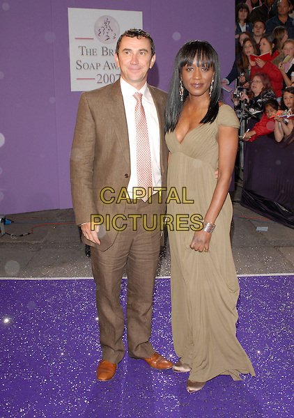 PHIL DANIELS & DIANE PARISH.Arrivals at the British Soap Awards 2007, .BBC Television Centre, London, England, .May 26, 2007. .full length brown suit beige dress grey green.CAP/IL.©Ian Leonard/Capital Pictures.