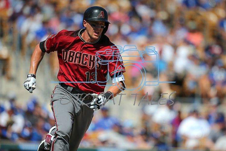 Arizona Diamondbacks' Nick Ahmed runs against the Los Angeles Dodgers in a spring training game in Glendale, Ariz., on Friday, March 24, 2017.<br /> Photo by Cathleen Allison/Nevada Photo Source