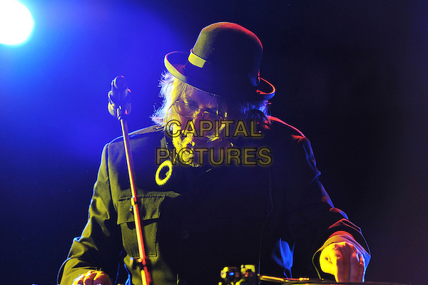Jerry Dammers.Performing live at the Clore Ballroom as part of Ray Davies' 'Meltdown',  London, England, June 18th 2011..half length music live on stage concert gig microphone glasses black hat headphones decks dj dj-ing .CAP/MAR.© Martin Harris/Capital Pictures.