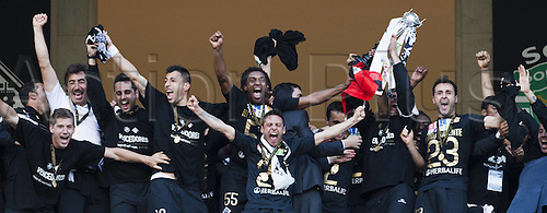 20.05.2012.  Lisbon Portugal Academica Coimbra Players celebrating their Victory Over Lisbon Sporting Clube Portugal in The Final of The Portuguese Cup in Jamor stadium in Lisbon. Academica won by a score of 1-0.