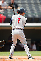 Justin Henry #7 of the Toledo Mudhens at bat against the Charlotte Knights at Knights Stadium August 8, 2010, in Fort Mill, South Carolina.  Photo by Brian Westerholt / Four Seam Images
