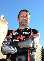 Nov. 10, 2012; Pomona, CA, USA: NHRA pro stock motorcycle rider Eddie Krawiec after clinching the 2012 world championship during qualifying for the Auto Club Finals at at Auto Club Raceway at Pomona. Mandatory Credit: Mark J. Rebilas-