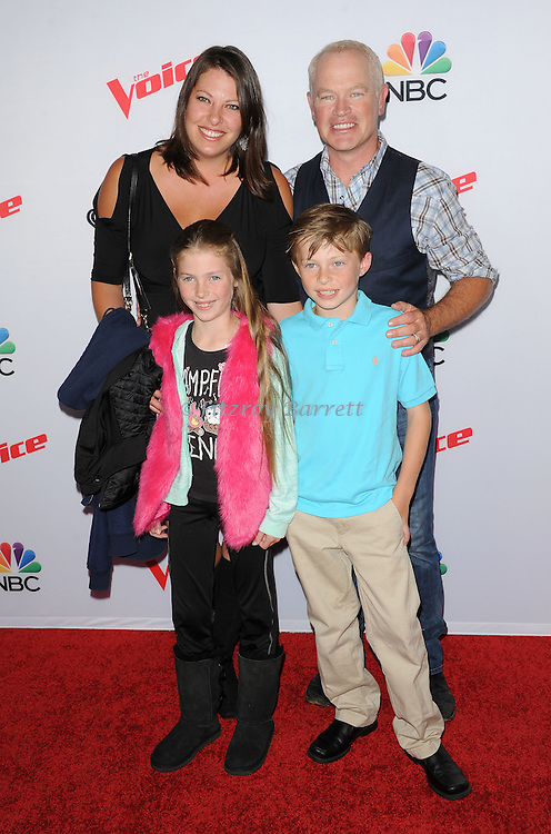 Neal McDonough and family arriving NBC's The Voice Season 8 Red Carpet Event held at the Pacific Design Center Los Angeles CA. April 23, 2015